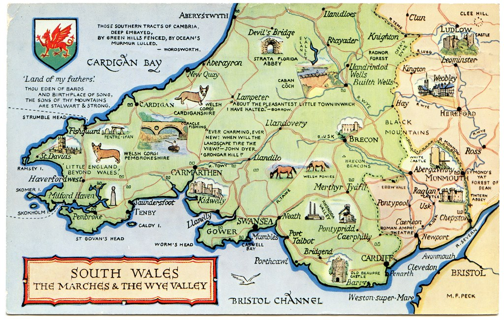 Map South Wales Postcard map of South Wales, the Marches and the Wye Valle… | Flickr