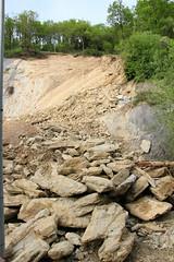 Vista general del monte  y de las piedras que se mantienen en el vial