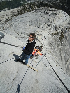Hiking (and Climbing) Half Dome: Matt and Laura on the ropes | by mormolyke