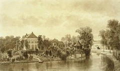 <p>Stadsbuitengracht, oostzijjde, zicht op Bolwerk Lepelenburg Coll. Het Utrechts Archief.</p>