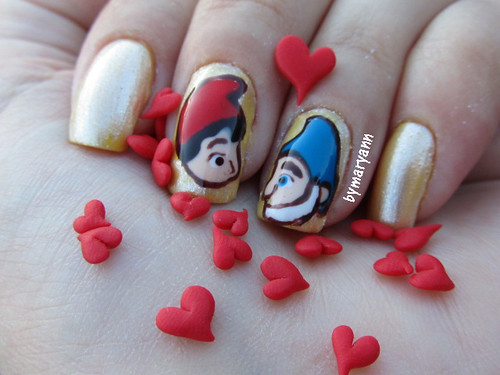 Gnomeo & Juliet in love nail art | by Mary Ann Muffin de Pera
