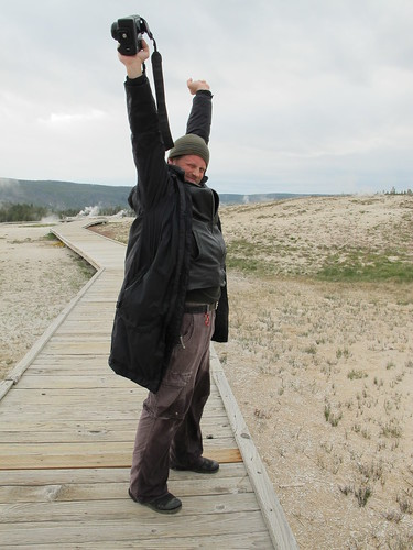 Yellowstone: Matt is delighted to be covered in geyser sulphur water! | by mormolyke