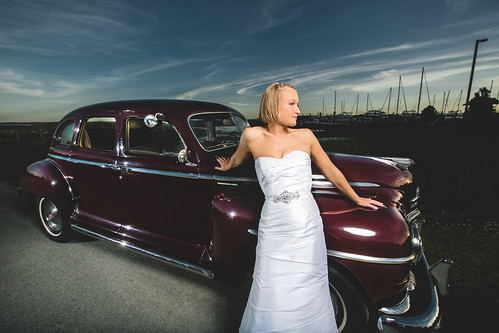 old wedding sunset portrait classic 1948 car fashion bride deluxe north plymouth special carolina bridal southport