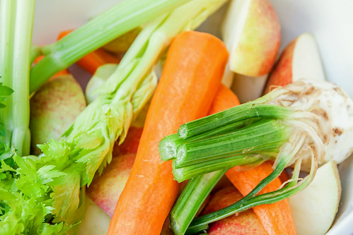 Fresh organic raw celery carrot and apple | by Vegan Photo