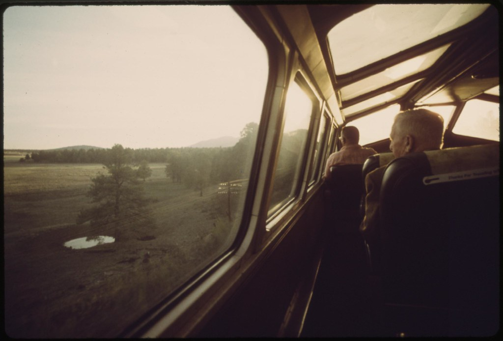 The Southwest Limited's dome car attracts passengers interested in looking at the early morning Arizona landscape, June 1974