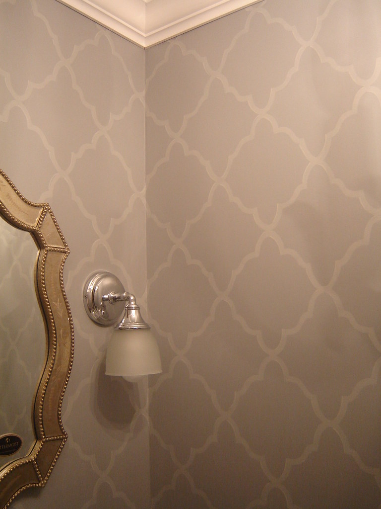 Powder Room Walls | Hand-cut stencil  | Robin M | Flickr