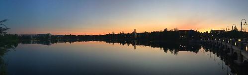 morning sky sunlight lake water sunrise reflections pano scenic panoramic wdw waltdisneyworld panaramic panaroma centralflorida iphonecamera disneyspopcenturyresort generationgapbridge hourglasslake disneysartofanimationresort chadsparkesphotography iphonese appleiphonese