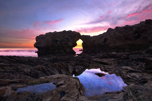 ocean california light sunset beach colors reflections rocks colorful arch pacific rocky pools