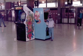 Me playing a stand-up Donkey Kong arcade game at the St Louis Greyhound bus station in the 1980s