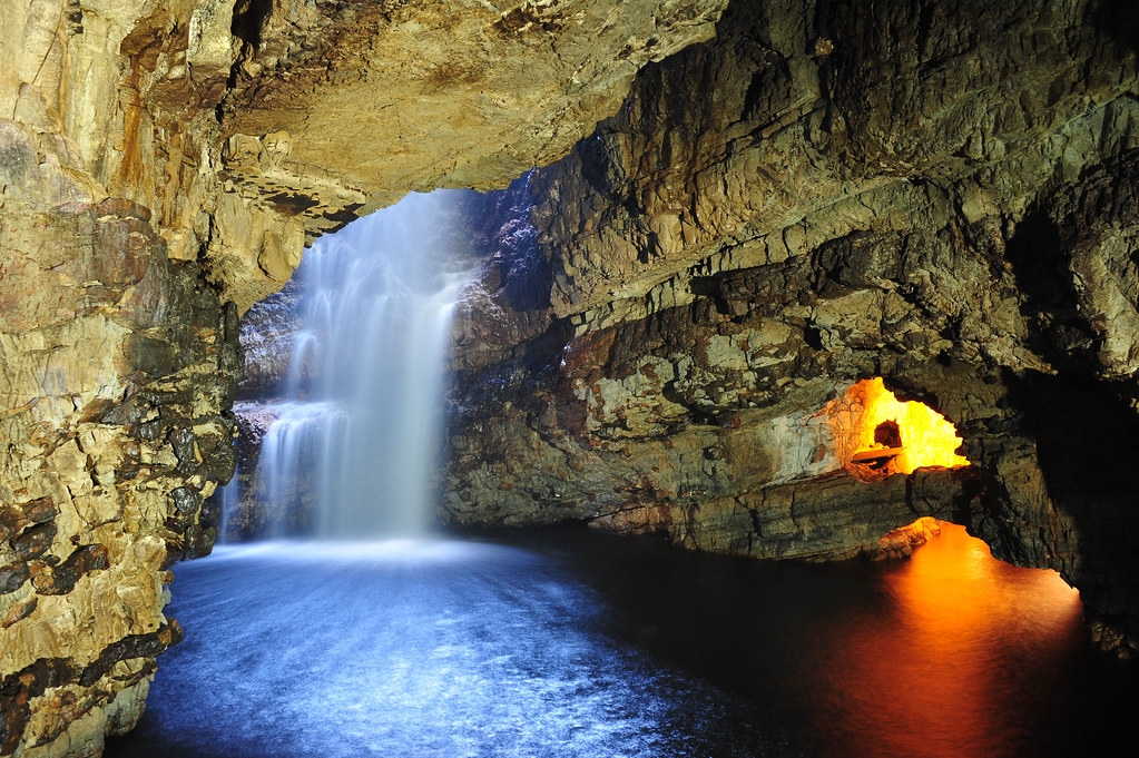 Smoo Cave, Durness, Scotland - Second Chamber, Waterfall and Third Chamber entrance