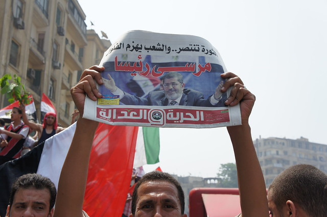 Morsi is a president , a headline of Freedom and Justice Newspaper