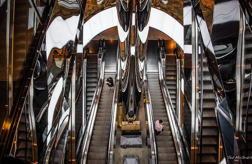 reflection standing mall mirror nikon steps sydney australia indoor riding cropped escalators vignetting railings riders 2016 sydneyau tedmcgrath tedsphotos nikonfx peopleandpaths nikond750 citycentralplaza citycentralplazasydney
