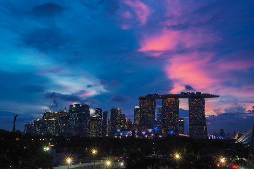 singapore cityscape nightscape silhouettes financialdistrict pinkclouds mbs marinabarrage