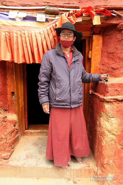 Inde - Himachal Pradesh - Ladakh - हिमाचल प्रदेश - Moine au monastère de Nako