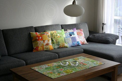 These are the pillows I made last summer. Now I had to make some tablecloths too..