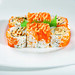 Spicy fish salad, sliced cucumber, lettuce rolled in masago roe and topped with spicy mayonnaise sauce.