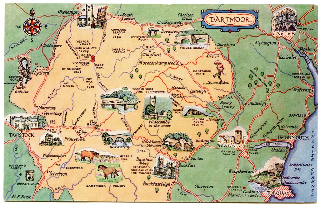 Map Of Dartmoor Postcard map of Dartmoor | Drawn by M F Peck. J Salmon, Ltd.… | Flickr