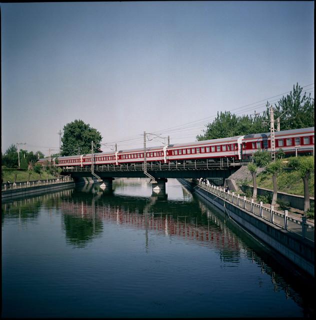 a red train runs through it