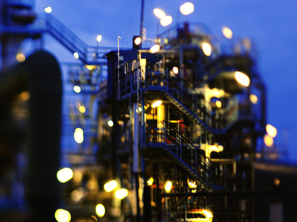 Oil Refinery Freelensed With A Pentax 67 105mm Lens On A