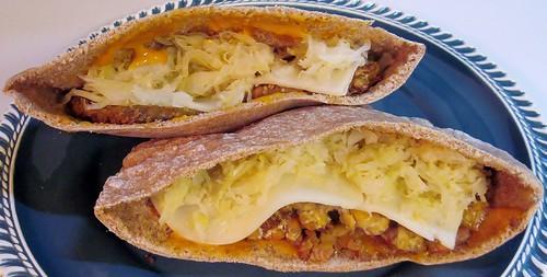Tempeh reuben pita sandwich | by SaucyGlo