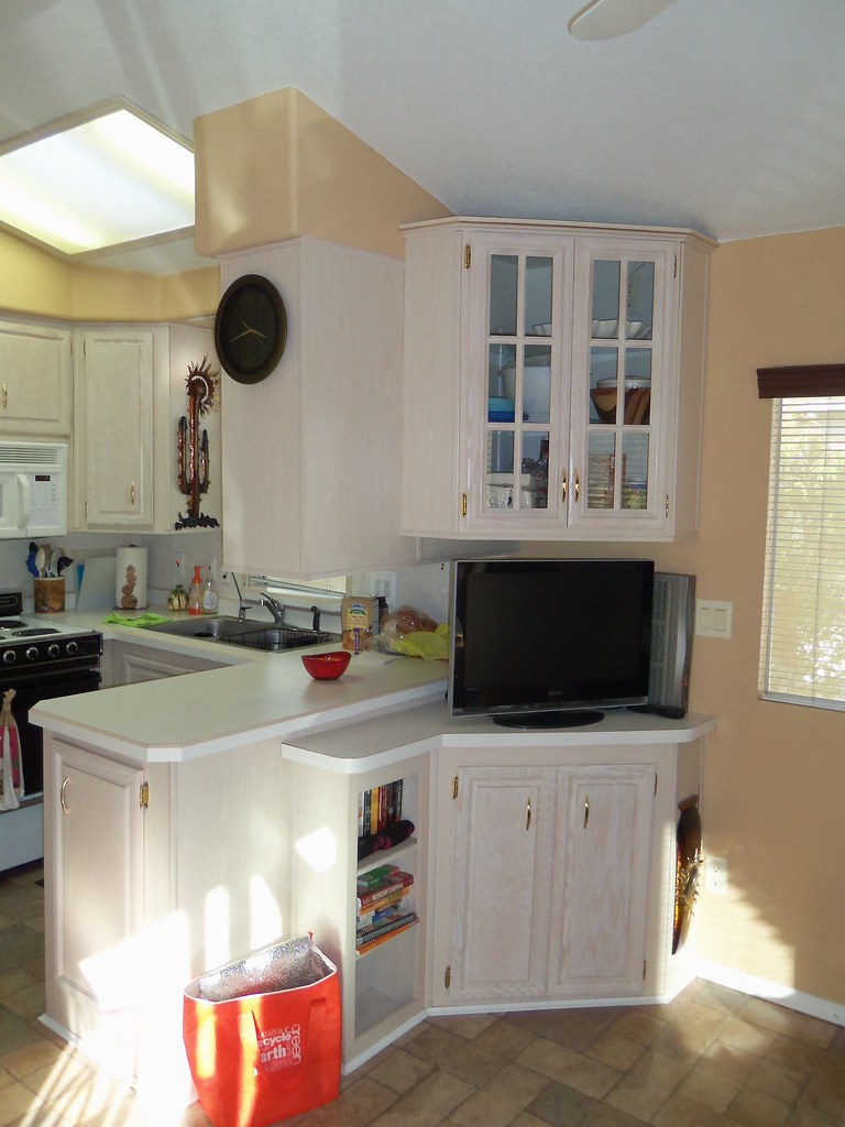 pickled oak cabinets