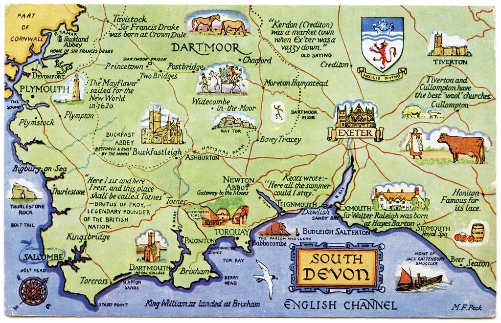 South Devon Map Postcard map of South Devon | Drawn by M F Peck. J Salmon, L… | Flickr