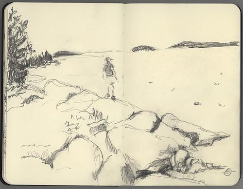 seascape landscape person sketch downeastmaine bealsisland 5bpencil pocketsizemoleskine marciamilnerbrage