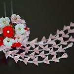 Maiko Henshin Ume Kanzashi set: handmade tsumami zaiku crown and bouquet