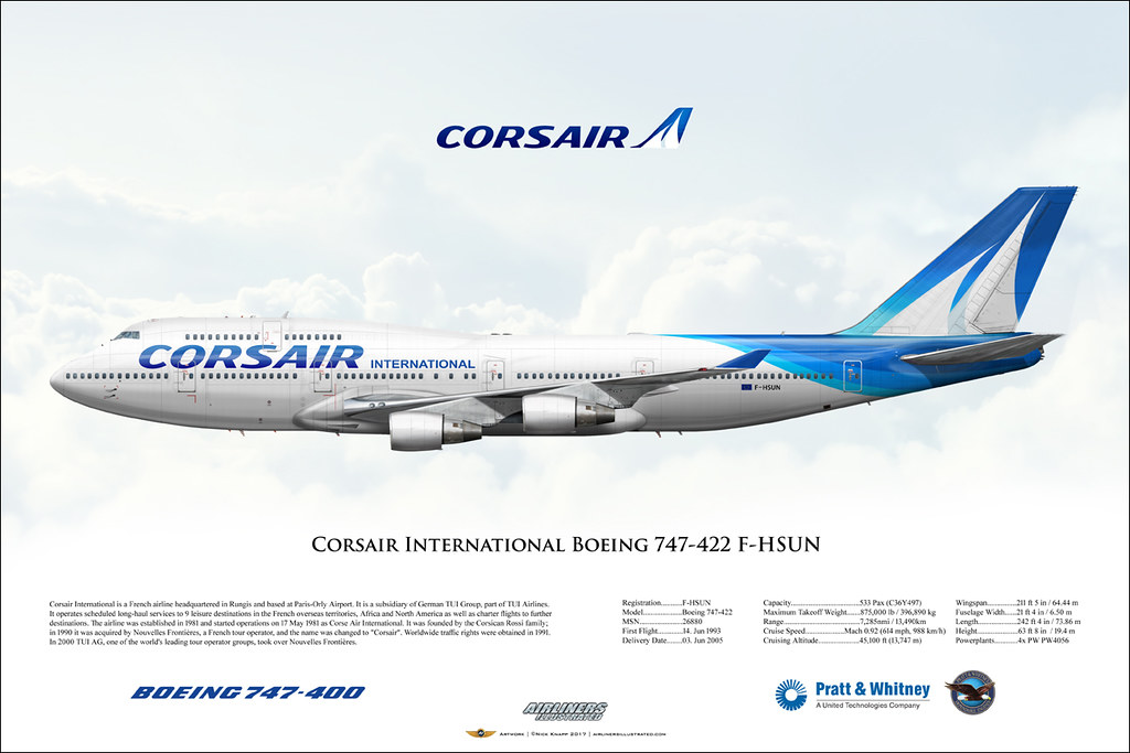 Corsair International Boeing 747-422 F-HSUN Airliner Profi