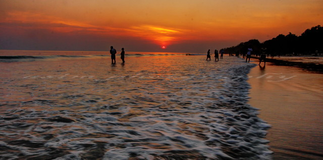 sunset at Radhanagar beach in Andaman Islands
