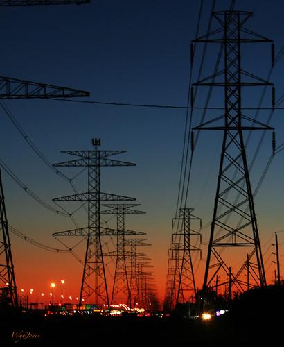 sunset sky cars energy texas streetlights towers houston headlights powerlines electricity lightpoles np tailights powerpoles samhoustontollroad veteranshighway wyojones