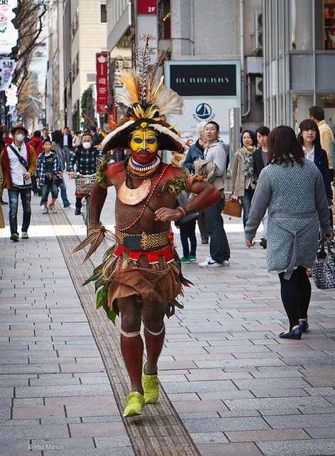 Traditional Papuan fashion still turns heads...even on trendy fashion conscious Omotosande Street in Tokyo