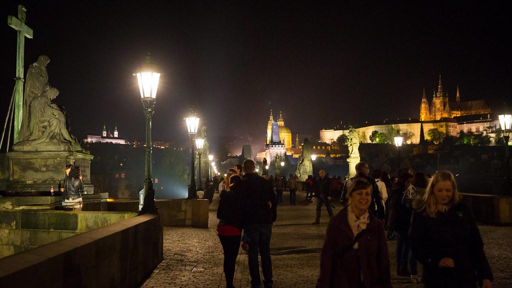 Walking the Charles Bridge at Night Prague