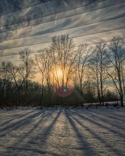 trees winter sunset ohio cloud sun cold tree nature clouds outdoors cleveland clevelandohio lensflare flare iphone