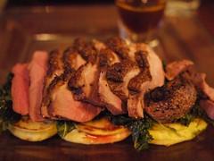 木, 2012-03-29 19:32 - Duck Breast w/Kale, Potato blini, Orange-veal demiglaze