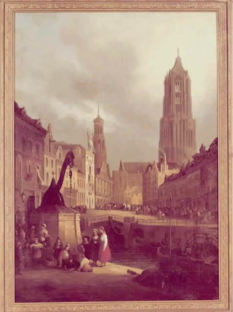 Gezicht vanaf de werf op de Oudegracht te Utrecht met de Stadhuisbrug uit het  noordwesten, met links de stadskraan en het stadhuis, rechts de voorgevels van  de huizen aan de westzijde van de gracht en op de achtergrond de Domtoren. P.G.  Vertin, 1820. Coll. Het Utrechts Archief.