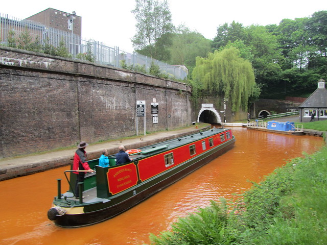 UK - Staffordshire - Newcastle-under-Lyme - Kidsgrove - Narrow boat entering North Portal of Harecastle Tunnel on Trent & Mersey Canal