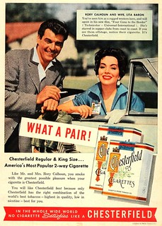 rory calhoun and lita baron chesterfield ad 1955   by richardschave