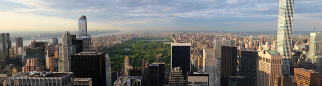 Panorama New York Central Park skyline viewed from Rockefeller Centre 70th floor