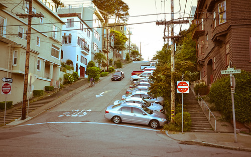 Steepest grade in downtown San Francisco | by tomsbiketrip.com