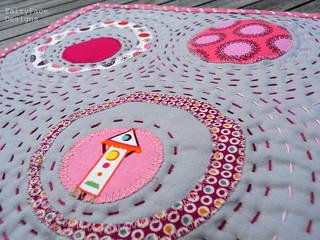 Circles mug rug stitching closeup | by Sarah @ FairyFace Designs