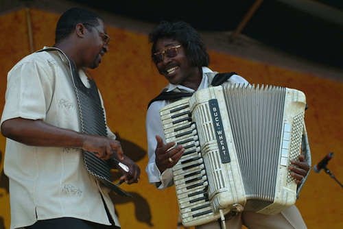 Buckwheat Zydeco  at 2004 Jazz Fest. Photo Leon Morris.