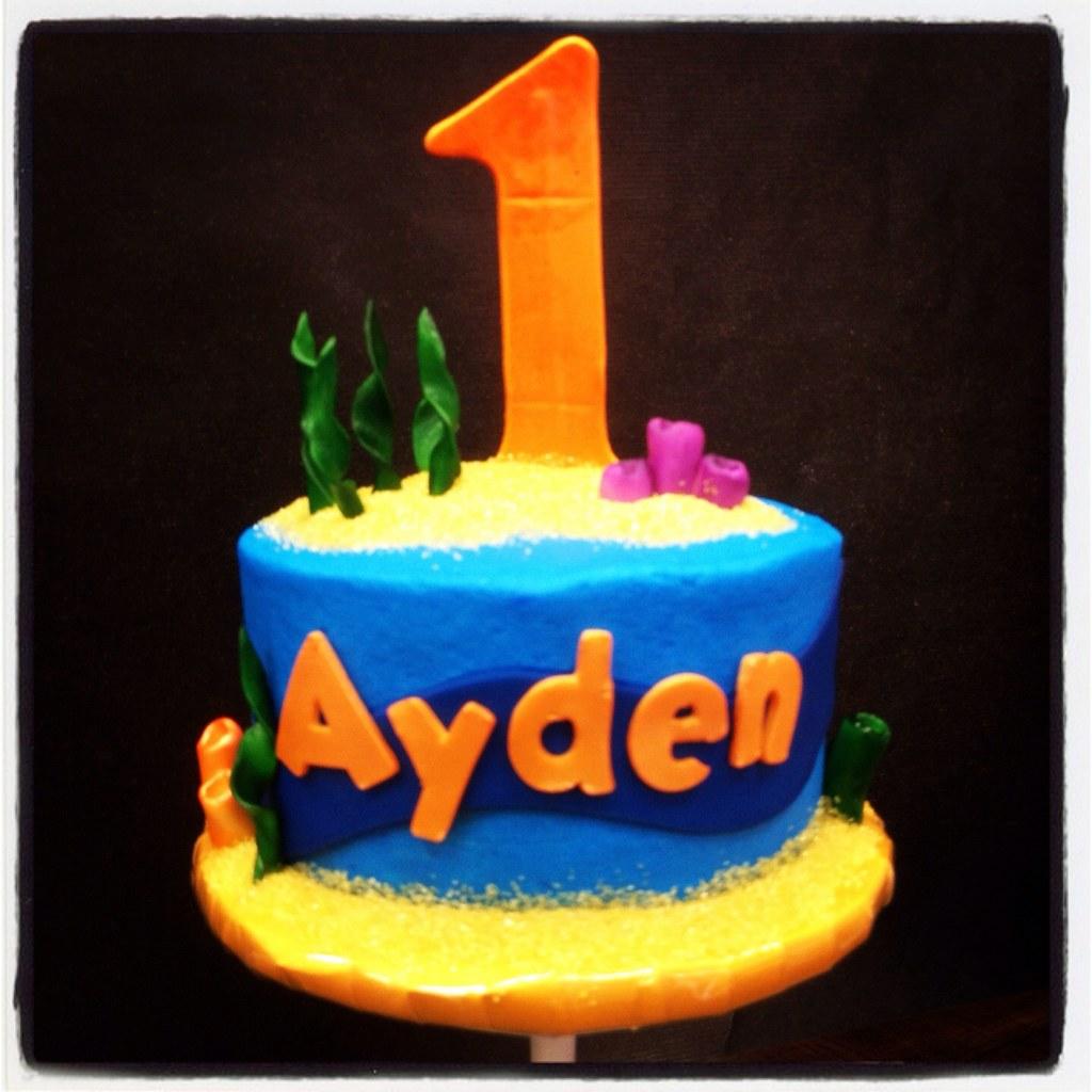 Awesome Bubble Guppies Inspired First Birthday Smash Cake Jenna Jones Funny Birthday Cards Online Hetedamsfinfo