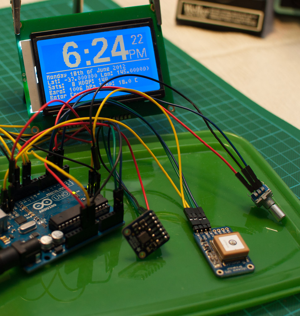 Most Parts- GPS Clock | This shot shows an Adafruit Ultimate