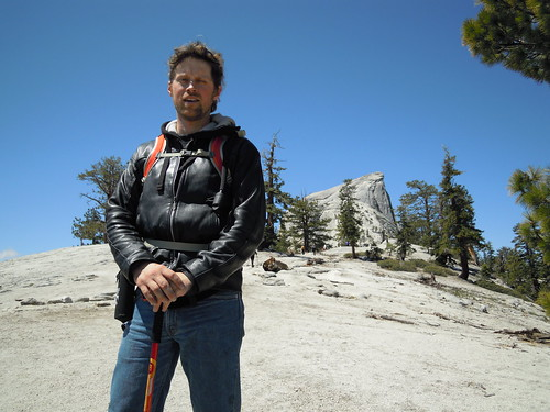 Hiking (and Climbing) Half Dome: Matt dwarfs Half Dome | by mormolyke