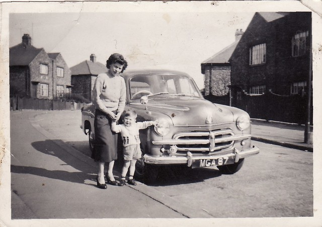 Mam & Myself @ Maplewood Ave, Aunt Polly's car about 1957