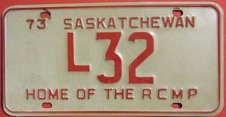 SASKATCHEWAN 1973 ---LIVERY LICENSE PLATE #L32