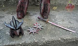 tOkKustom :: NEW CLASSIC 'FOOT' Trio :: SHREDDER iii / Kuro Kabuto Helmet, Blood Sword, Blood Shuriken | by tOkKa
