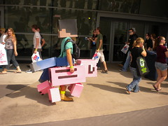 Minecraft person riding on his pig.