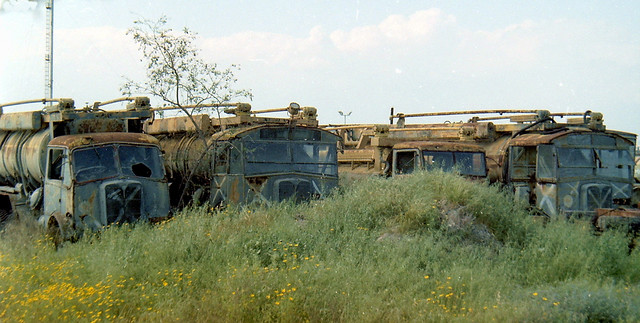 Ex RAF AEC Matador + Bedford QL fuel bowsers Lefaritis Cyprus